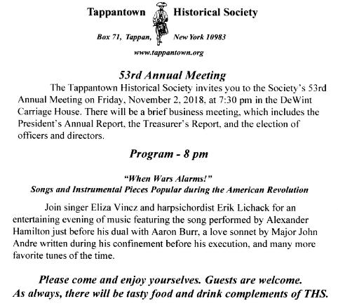 Events - Tappantown Historical Society